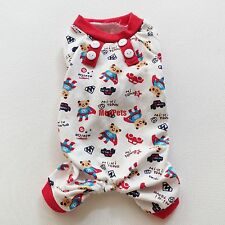 Bear+Car Cotton Pet Dog Pajamas Jumpsuits Dog Clothes Pet Apparel XS S M L XL