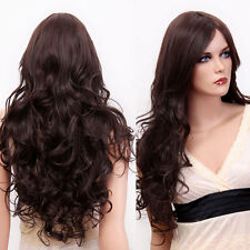Glamour Womens Long Curly Body Wavy Hair Brown Full Wig Daily Costume Part Bangs