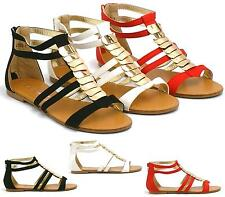 Womens Gladiator Sandals New Womens Flat Strappy Fancy Summer Beach Shoes Size