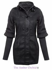 LADIES WOMENS HOODED DUFFLE TOGGLE FAUX WOOL KNITTED SLEEVES TRENCH JACKET COAT