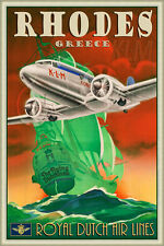 KLM Rhodes Greece Poster Art Royal Dutch Air Lines DC3 Flying Dutchman Print 282