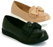 LADIES WOMENS GIRLS FLAT LOAFER BOW DOLLY GEEK MARY JANE SCHOOL SHOES SIZE