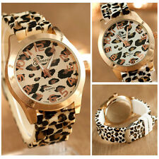 Geneva Fashion Unisex Leopard Silicone Jelly Gel Quartz Analog Wrist Watch