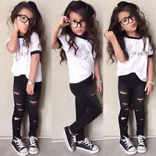 2PCS Toddler Baby Girls Fashion Outfit T-shirt Tops+Pants Trousers Clothes Suit