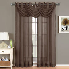 Abri Chocolate Grommet Crushed Sheer Curtain Panel 100% Polyester