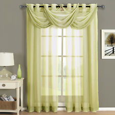 Abri Soft Gold Grommet Crushed Sheer Curtain Panel 100% Polyester