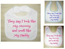 Novelty Toddler Bib, Funny Bibs, White, Blue, Pink - HIGH QUALITY/Vinyl Text