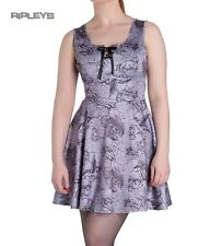 HELL BUNNY Spin Doctor Skater Mini Dress   KARIS Goth Grey All Sizes
