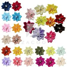 10pcs 28*30mm Satin Ribbon Flower with Crystal Bead  Craft Wedding Appliques