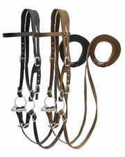 WESTERN SADDLE HORSE HEAVY NYLON BRIDLE HEADSTALL W/ SPLIT REINS BLACK OR BROWN