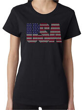 USA Rhinestone Women's Short Sleeve T-Shirts Patriotic 4th of July