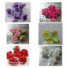 Polymer Clay Flowers Roses Yellow Pink Purple Red White Flower Beads