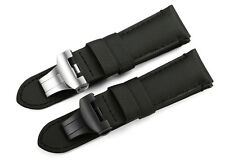 24mm Black Genuine Fabric Canvas Calf Leather Watch Band Strap For Panerai