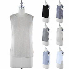 Ribbed Sleeveless Boat Neck Tank Top with Side Slit Detail Casual Rayon S M L