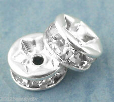 Wholesale Mixed Lots Silver Plated Rondelles Rhinestone Spacers Beads 6mm Dia.