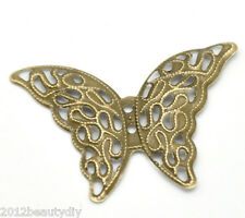 Wholesale New Bronze Tone HOTSELL Butterfly Wraps Connectors 4.1x2.9cm
