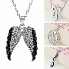 Women Fashion Crystal White Gold Plated Angle Wing Mom Pendant Necklace Gift