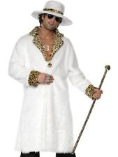 Mens White & Leopard Pimp Daddy Costume ALL SIZES