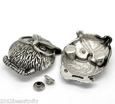 Wholesale Lots Sets Silver Tone Owl Spike Rivet Studs Spots 3.5x2.8cm 7x3.5mm