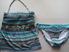 NWT Kenneth Cole Smocked Bandeau Tankini Swim Bathing Suit Blue Beach