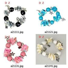 a211m99 Multi-color Natural Shell Gift Beads elastic stretch Dangle Bracelet