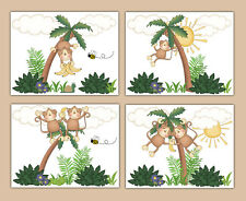 Hanging Swinging Monkey Prints Wall Art Boy Safari Jungle Animals Nursery Decor