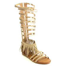 Beston EB13 Womens Fringe Lace Up Back Zip Under Knee High Gladiator Flat Sandal