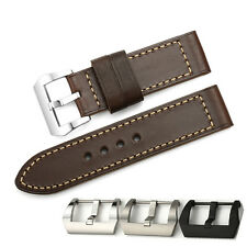 26mm Vintage Brown Genuine Leather Watch Band Pre-V Buckle Strap For Panerai