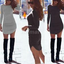 Womens Solid Slim Bodycon Long Sleeve Split Maxi Tunic Party Evening Mini Dress