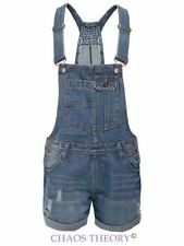 NEW LADIES WOMENS DENIM DUNGAREE PINAFORE OVERALL SHORTS CELEB JEANS PLAYSUIT