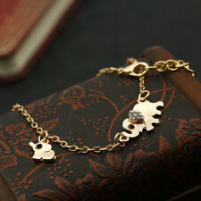 Fashion Women's Cute Elephant Chain Crystal Gold Silver Pendant Necklace Kang
