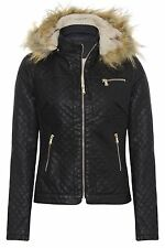 WOMENS LADIES PU FAUX FUR QUILTED HOODED FLEECE PVC LEATHER ZIP BIKER JACKET