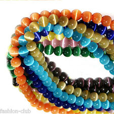 Lots 20/50/100Pcs Round Cats Eye Loose Beads Craft Jewelry Finding DIY 8mm