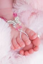 Baby & Girl's Rose Pink crystal Butterfly Barefoot Sandals handcrafted 1 pair