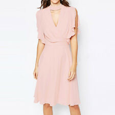 Fashion Women Sexy V-Neck Batwing Sleeve Chiffon Pleated Summer Cocktail Dress