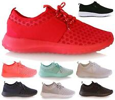 NEW TRAINERS WOMENS LADIES SNEAKERS LACE UP GYM PUMPS MESH FITNESS SIZE 3-8