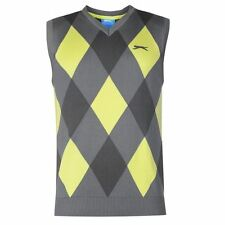 Slazenger Mens Argyle Knitted Vest Golf Sleeveless Sweater V Neck Checked Design