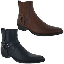 Mens Leather Cowboy Pull On Western Harness Cuban Heel Smart Ankle Boots UK 7-12