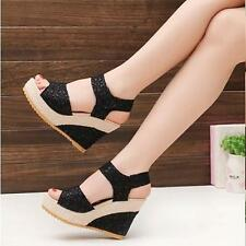 High Heel Wedge Women's Fashion Lace Hollow Sandals Platform Ankle Strap Shoes