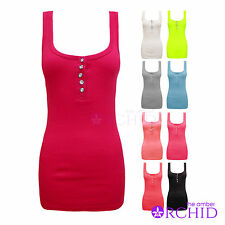 Ladies Womens Racer Muscle Back Stretch Bodycon Diamante Button Ribbed Vest Top