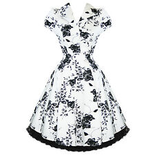 Ladies White Floral Vintage 50s Retro Rockabilly Party Prom Swing Tea Dress UK