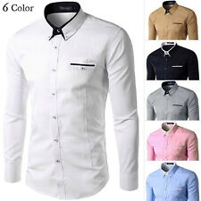 New Stylish Men's Cotton Button Shirt Casual Suit Tee Tops Long Sleeves M-4XL