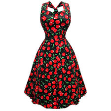 Whispering Ivy Black Red Cherry Print 50s Retro Vintage Rockabilly Flared Dress