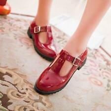 Womens T Strap Bar Leather Flat Girl Mary Jane Pump Comfort shoes Plus Size A007
