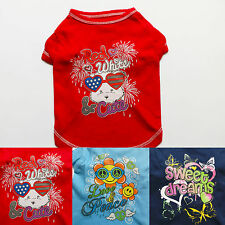 PRINT Dark Blue Red Blue Dog Shirts Tee T-Shirt Pet Apparel Dog Clothes XS S M L