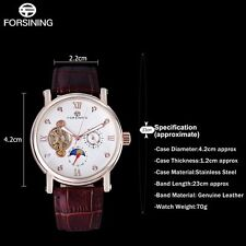 FORSINING Mens Rose Gold Automatic Mechanical Leather Sport Wrist Watch Gift