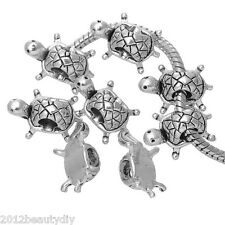 Wholesale Mixed Lots Silver Tone Turtle Charms Beads Fit Charm Bracelet 19x13mm