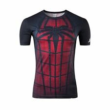 Men Spiderman Marvel Comic Compression Tee T-shirt Short Sleeve Costume Jersey