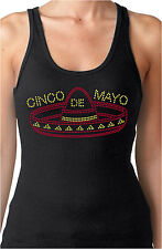Cinco De Mayo Sombrero Rhinestone Women's Fitted Tank Tops Mexican Tequila