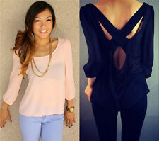 Fashion Womens Sexy Chiffon Tops Backless Long Sleeve Loose Shirt Casual Blouse